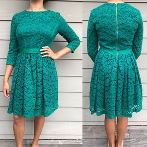 Green Lace Midi Dress 3/4 Sleeve by Taylor